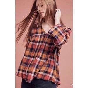 Anthropologie Orgenta Plaid Top by Tylho